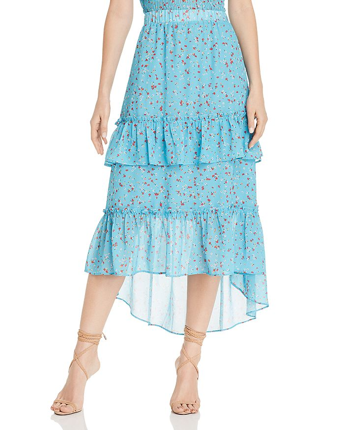 AQUA - Floral-Print Tiered Maxi Skirt - 100% Exclusive