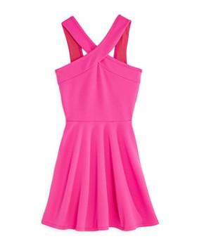 AQUA - Girls  V-Neck Textured Skater Dress ae075d5ba