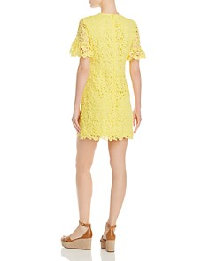 AQUA - Short-Sleeve Floral-Lace Dress - 100% Exclusive
