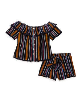 Vintage Havana - Girls' Striped Off-the-Shoulder Top & Shorts - Big Kid