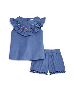 Mini Series - Girls' Chambray Ruffled Top & Shorts, Little Kid - 100% Exclusive