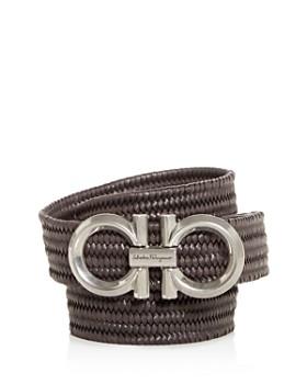 Salvatore Ferragamo - Men's Gancini Buckle Woven Leather Belt