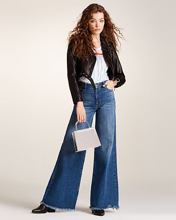 0110d09c1 Veda Baby Jane Leather Moto Jacket, FRAME Le Palazzo Wide-Leg Jeans ...