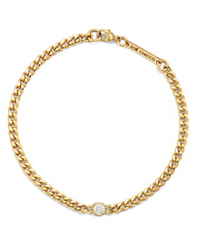 Zoë Chicco - 14K Yellow Gold Small Curb Diamond Chain Bracelet