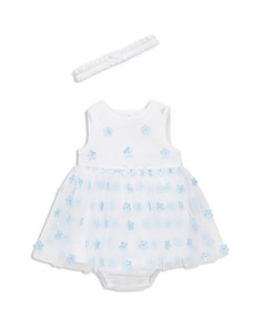 Little Me - Girls' Blue Flower Bodysuit-Dress & Headband Set - Baby