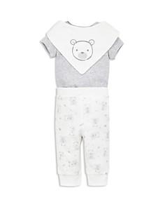 Little Me - Unisex Bear Bodysuit, Pants & Bandana Bib Set - Baby