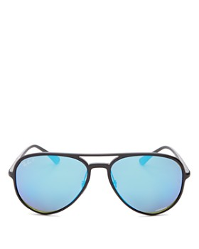 Ray-Ban - Unisex Polarized Mirrored Brow Bar Aviator Sunglasses, 58mm
