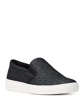 c4a7cf4c8e60 MICHAEL Michael Kors - Women s Keaton Leather Logo Print Slip-On Sneakers  ...
