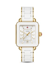 MICHELE - Deco Sport Gold-Tone White-Wrapped Silicone Watch, 34mm x 36mm