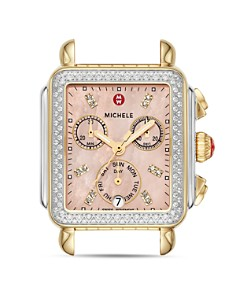 MICHELE - Signature Deco Two-Tone Pink Dial Diamond Watch Head, 33mm x 35mm