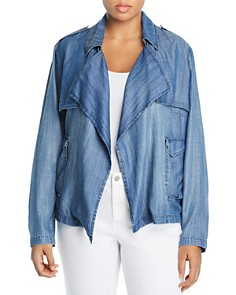 Bagatelle Plus - Chambray Open Front Jacket