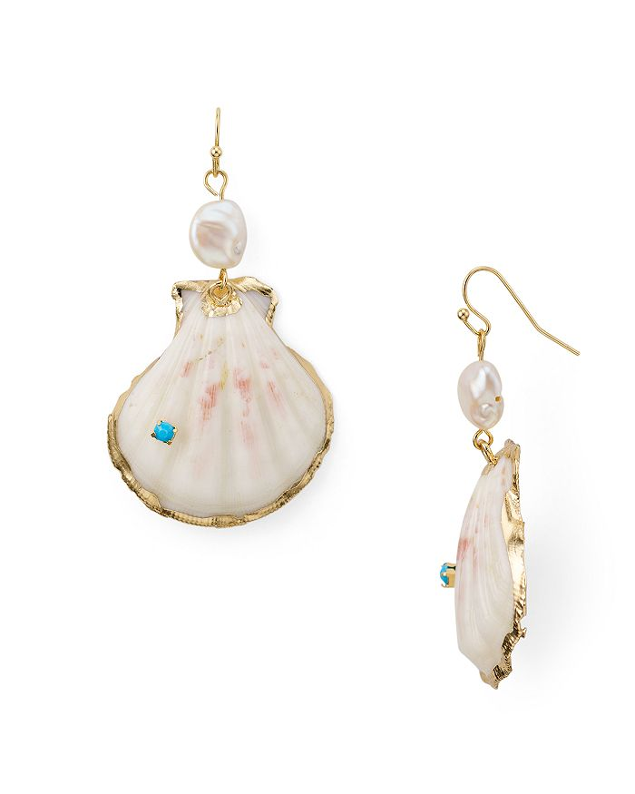 AQUA - Half Shell & Cultured Freshwater Pearl Drop Earrings - 100% Exclusive