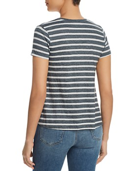 Majestic Filatures - Striped V-Neck Tee
