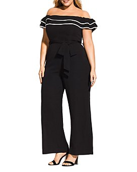 City Chic Plus - Off-the-Shoulder Wide-Leg Jumpsuit