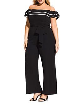 City Chic Plus - Off-the-Shoulder Wide-Leg Jumpsuit