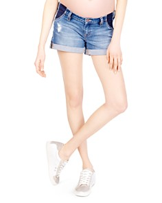 Ingrid & Isabel - Maternity Mia Denim Boyfriend Shorts in Distressed Medium Wash