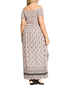City Chic Plus - Printed Off-the-Shoulder Maxi Dress