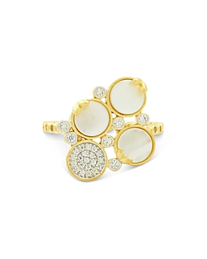 Freida Rothman Fleur Bloom Empire Cocktail Ring in 14K Gold-Plated & Rhodium-Plated Sterling Silver
