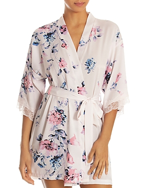 In Bloom By Jonquil Tops IN BLOOM BY JONQUIL SHIMMERY SATIN FLORAL & LACE WRAP ROBE