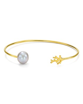 Chan Luu - Cultured Freshwater Pearl Thin Cuff Bracelet in 18K Gold-Plated Sterling Silver