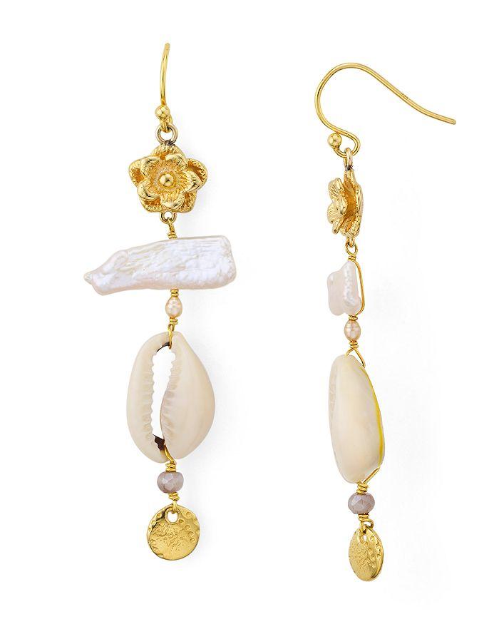 Chan Luu - Shell Drop Earrings in 18K Gold-Plated Sterling Silver