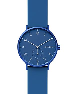 Skagen Watches AAREN KULR BLUE SILICONE STRAP WATCH, 41MM