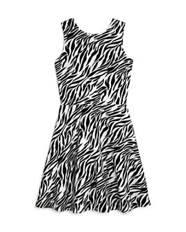 AQUA - Girls' Zebra Print Fit-and-Flare Dress, Big Kid - 100% Exclusive