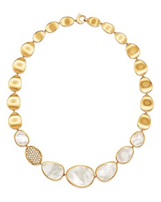 """Marco Bicego - 18K Yellow Gold Lunaria Mother-of-Pearl & Diamond Collar Necklace, 16.5"""""""