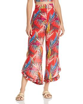 Red Carter - High-Waist Palm-Print Pants