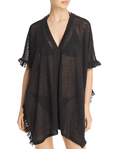 Echo - Ruffle Knit Poncho Swim Cover-Up
