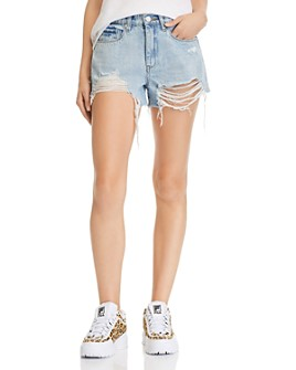 BLANKNYC - High-Rise Destructed Denim Shorts in Acid Trip