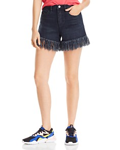 BLANKNYC - Lenox High-Rise Fringe-Hem Denim Shorts in Vixen
