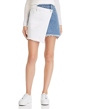 Blanknyc Color-Block Overlay Denim Mini Skirt