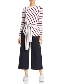 KAREN MILLEN - Tie-Front Striped Sweater - 100% Exclusive
