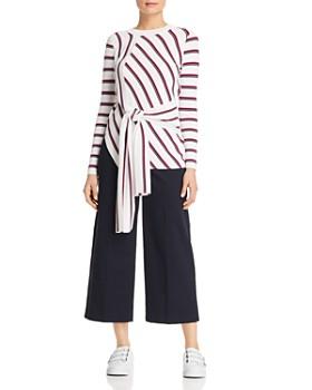 KAREN MILLEN - Tie-Front Striped Sweater - 100% Exclusive