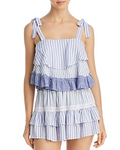 Surf Gypsy - Striped Combo Ruffle Tank Top & Striped Combo Mini Skirt Swim Cover-Up