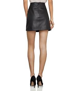 BCBGMAXAZRIA - Faux-Leather Button-Front Mini Skirt