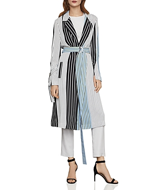 Bcbgmaxazria Coats STRIPED BELTED TRENCH COAT