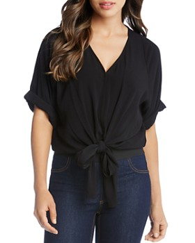 3e23c9c87c4998 Karen Kane - V-Neck Tie-Front Top - 100% Exclusive ...