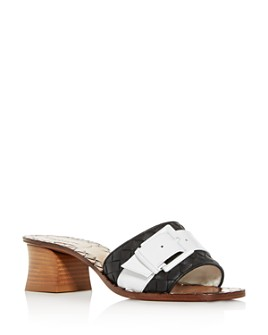 Bottega Veneta - Women's Woven Block-Heel Slide Sandals