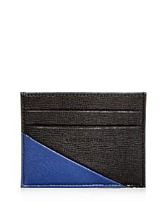 Longchamp - Parisis Color-Block Pebbled Leather Card Case