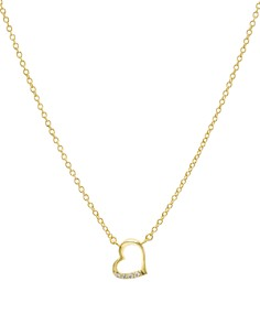 "AQUA - Embellished Open Heart Pendant Necklace in 14K Gold-Plated Sterling Silver or Sterling Silver, 16"" - 100% Exclusive"