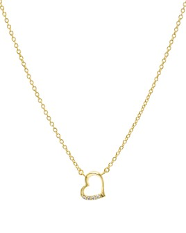 """AQUA - Embellished Open Heart Pendant Necklace in 14K Gold-Plated Sterling Silver or Sterling Silver, 16"""" - 100% Exclusive"""