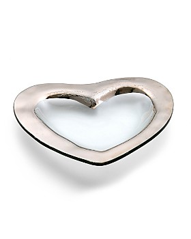 "Annieglass - Roman Antique Platinum 8"" Heart Bowl"