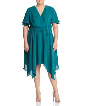 8f6e260f57 Adrianna Papell Plus - Handkerchief-Hem Faux-Wrap Dress ...