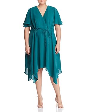 Adrianna Papell Plus Handkerchief Hem Faux-Wrap Dress
