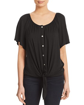 Kim & Cami - Short-Sleeve Tie-Front Top