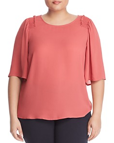 B Collection by Bobeau Curvy - Bette Smocked-Shoulder Top