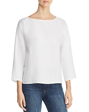 Eileen Fisher Tops ORGANIC LINEN HIGH/LOW TOP