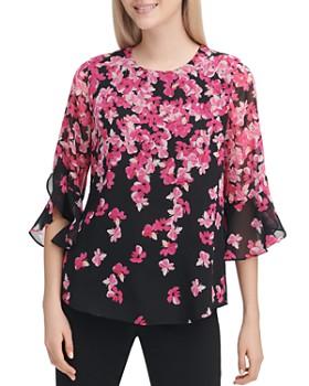 61f8bba212d04 Calvin Klein - Floral Print Ruffle Blouse ...